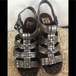Dolce vita silver wedge sandals strap platform